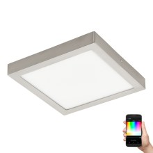 Eglo 96681 - Plafonnier LED RGB à intensité modulable FUEVA-C LED/21W/230V Chrome mat