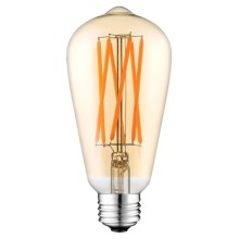 LED Lamp CLASIC AMBER ST64 E27/10W/230V 2200K - Brilagi