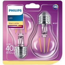 PACK 2x Ampoule LED Philips E27/4,3W/230V 2700K