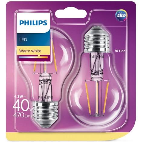 PACK 2x Ampoule LED Philips E27/4,3W/230V 2700K