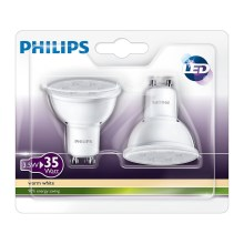 PACK 2x Ampoule LED Philips GU10/3,5W/230V