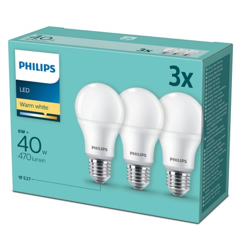 PACK 3x Ampoule LED Philips E27/6W/230V 2700K