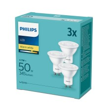 PACK 3x Ampoule LED Philips GU10/4,7W/230V 2700K