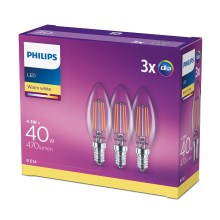 Pack 3x Ampoule LED VINTAGE Philips E14/4,3W/230V 2700K