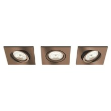 Philips 50393/05/P0 - SET 3x LED Inbouwspot dimbaar SHELLBARK 3xLED/4,5W/230V