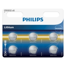 Philips CR2032P6/01B - 6 pc Pile bouton lithium CR2032 MINICELLS 3V
