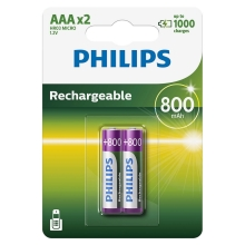 Philips R03B2A80/10 - 2 pc Pile rechargeable AAA MULTILIFE NiMH/1,2V/800 mAh