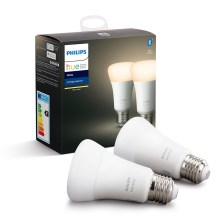 SET 2x LED Lamp dimbaar Philips HUE WHITE E27/9W/230V