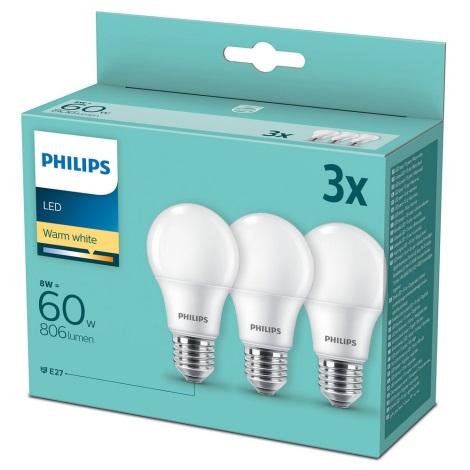 SET 3x LED Lamp Philips A60 E27/8W/230V 2700K