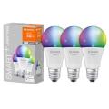SET 3x LED RGBW Lamp dimbaar SMART+ E27 / 9,5W / 230V 2700K-6500K - Lucide