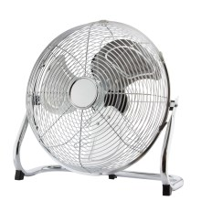Ventilateur de sol, 45 cm, 3 vitesses, Chrome, 140W